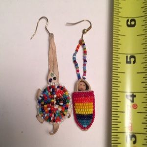 Native American beaded earrings leather seed beads